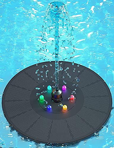 Senders Solar Springbrunnen, 3W Solar Teichpumpe mit LED Licht Garten Wasserpumpe Solar Schwimmender Fontäne Pumpe für Gartenteich Oder Springbrunnen Teich Vogel-Bad Fisch-Behälter