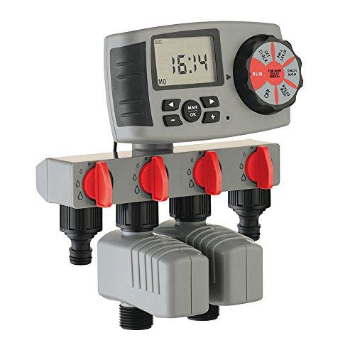 Aqualin Bewässerungscomputer 4-Auslässe Bewässerungssystem Automatische Bewässerungsuhr inkl. 1 X...