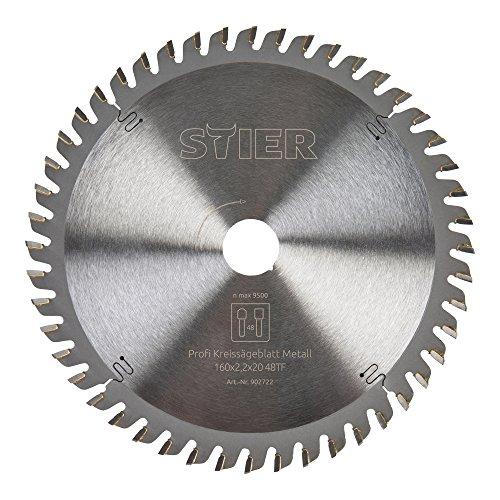 STIER Kreissägeblatt Profi, Metall, 160 x 2,2 x 20 mm, 48 Zähne, für verschiedene Materialien z.B....