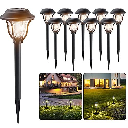 10st. Solarleuchten Garten Solarlampe für Außen Wasserdicht LED Warmweiß Solar Wegeleuchte Gartenleuchte Dekoratives Licht für Wege Ausfahrt Terrasse Teich mit Erdspieß Dämmerung Auto Ein / Aus