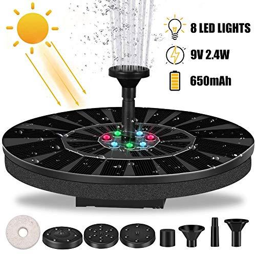 Lvhan Solar Springbrunnen - 2,4 W Solar Teichpumpe mit7LEDS und 6 Effekte,Solarpumpen Schwimmender Brunnen für Garten, Kleiner teich, Vogelbad, Fisch-Behälter, Pool