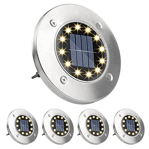Wilktop Solarleuchte Bodenleuchte 12 LEDs Warmweiß Solar Wegleuchte Außen Solarleuchte Edelstahl IP65 Wasserdichte Solarleuchte für Rasen Gartenweg Hof,4 Stück