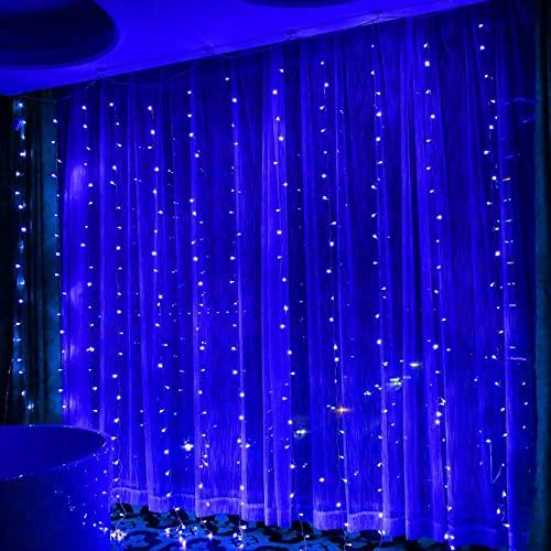 Fairy Vorhang Lampe,Hohe Helligkeit Wasserdichte String Beleuchtung für Hochzeit Schlafzimmer Erntedankfe,Innen Außen Wasserfall Licht Weihachten Lichtvorhang Dekorative mit 8 Modi-Blau 3m x 2m 240led