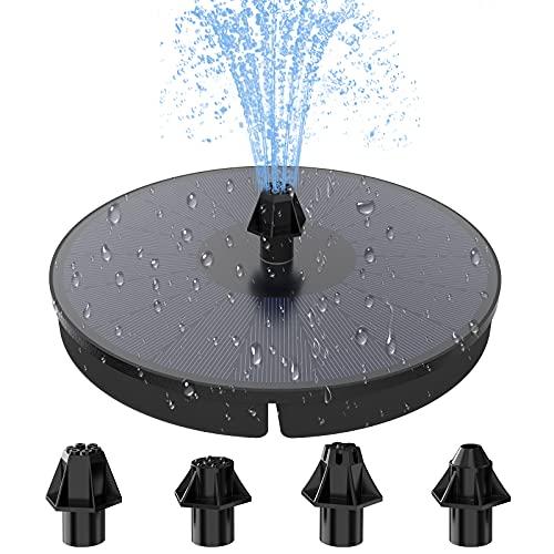 HOMMAND Solar Springbrunnen, 3.5W Solarspringbrunnen für aussen mit 900mAh Batterie, Vogelbad Brunnen Pumpe Wasserspiel, für Vogelbad, Fischbecken, Teich Garten Dekoration (180mm)