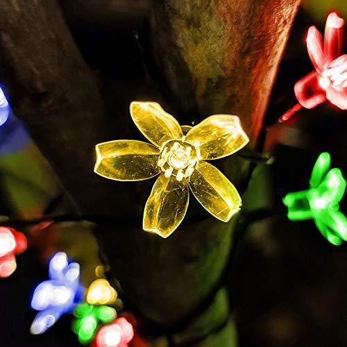 Solar Lichterkette Außen Außen Solar Garten Lichterkette Wasserdicht PVC Draht Dekoration Lichter Kupferdraht 8 Modi für Garten, Terrasse, Hof, Hochzeit, Party (warmweiß)