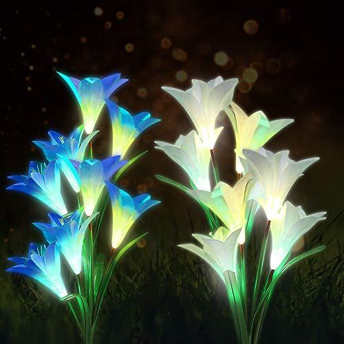 FSVEYL 2 x wasserdichte LED-Solarleuchten für den Garten, mit 8 mehrfarbigen, wechselnden Lilien, für Garten, Terrasse, Hof, Weg, Party, Urlaub, Dekoration (weiß und blau).