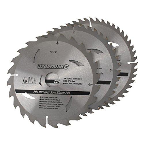 Silverline 749249 Hartmetall-Kreissägeblätter mit 24, 40 u. 48 Zähnen, 3er-Pckg. 200 x 30, Reduzierstücke: 25, 18 u. 16 mm