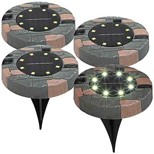 Lunartec Boden Solarlampe: 4er-Set Solar-Akku-Bodenleuchten mit 8 LEDs, warmweiß, IP44 (Garten Bodenleuchte)