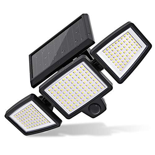 210 LEDs Solarlampen für Außen, 2500LM LED Solarleuchte Aussen mit Bewegungsmelder, 360° Beleuchtungswinkel, IP65 Wasserdicht, 2 Modi, Solar Aussenleuchte für Garten Patio Garage