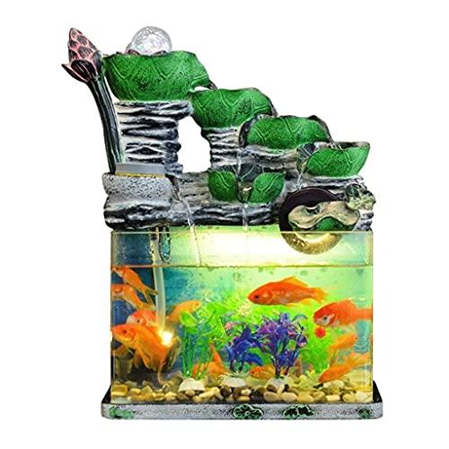 Innendekoration 5-stufiger zirkulierender Lotus-Kaskadenbrunnen Tisch-Wasserbrunnen und Aquarium für Home-Office-Dekor (Größe : S)