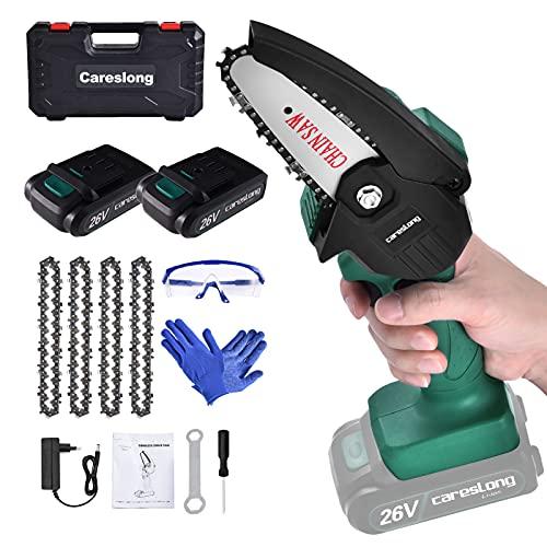Mini Kettensäge, 2 Batterien, 26 Volt, 4 Ketten, Schutzbrille, Handschuhe, zum Schneiden von Holzzweigen, für Gärten im Freien
