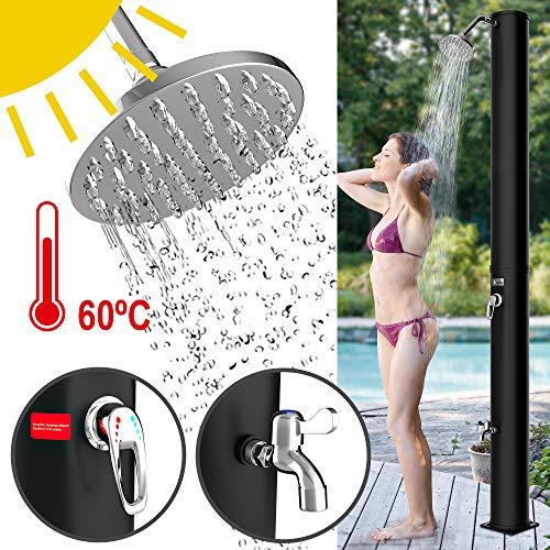 Homelux Solar Gartendusche Solardusche | warmes Wasser | 40 Liter | max. 60°C | ohne Stromanschluss | Pooldusche Camping| Regenduschkopf und Wasserhahn | Gartenschlauch-Anschluss | Schwarz