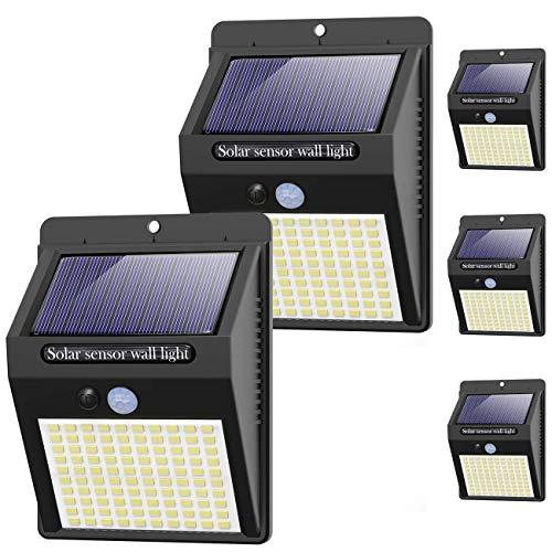 kolpop Solarlampen für Außen, [5 Stück] 100LED Solarleuchte mit Bewegungsmelder 3 Modi 1200mAh Solarlampe 120° Superhelle Solar Led wasserdichte Wandleuchte Solar Aussenleuchte Solarlicht für Garten