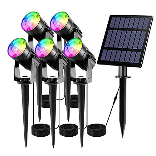 T-SUN Solarleuchte Garten, 5 Stück LED Gartenbeleuchtung Solar, Gartenstrahler Solar, Wasserdicht LED Solarlampe, Solar Außenleuchte, Gartenlampe, Wegeleuchte, Spotbeleuchtung.(Farbwechsel)
