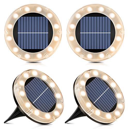 Solar Bodenleuchte - 12 LEDs Solarleuchten für Außen, Warmweiß Bodenleuchte Solarleuchten Garten, IP65 Wasserdicht Led Solar Gartenleuchten - 4 Stück, Außenleuchte für Auffahrt/Rasen/Gehweg/Patio