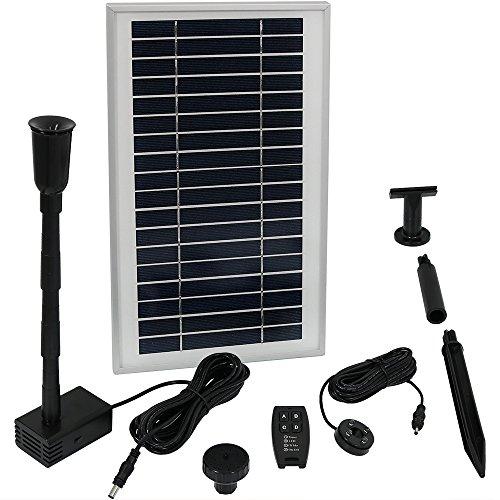 Sunnydaze Solarbetriebene Wasserpumpe und Paneel-Set mit Akku und Fernbedienung, für den Außenbereich, Vogeltränke oder Teich, 105 GPH, 135 cm Lift