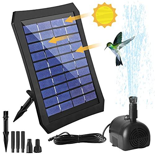 Neuer Solar Springbrunnen Pumpe mit Bunte LED-Leuchten und Halterung, Solar Fontäne Pumpe mit Solar Panel und Eingebaute 1200ma Batterie für Vogelbäder, Aquarien,Kleine Teiche, Gärten, Rasen
