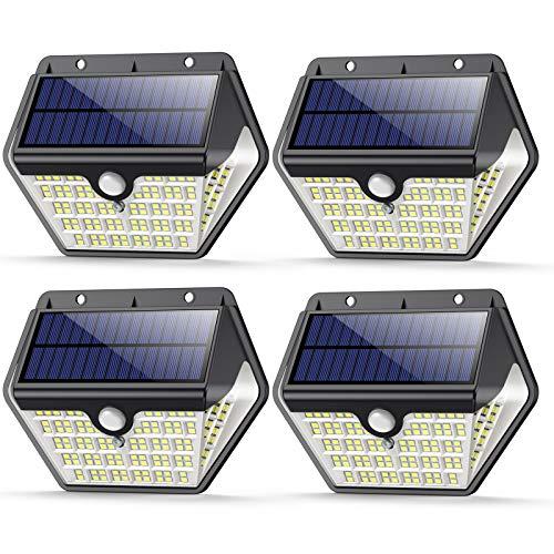 VOO Solarlampen für Außen,【Aktualisierte Version 150LED-1200 Lumen】Solarleuchte mit Bewegungsmelder 2000mAh Solar LED Bewegungsmelder Aussen Solar Wasserdichte Wandleuchte Solar Aussenleuchte-4 Stück