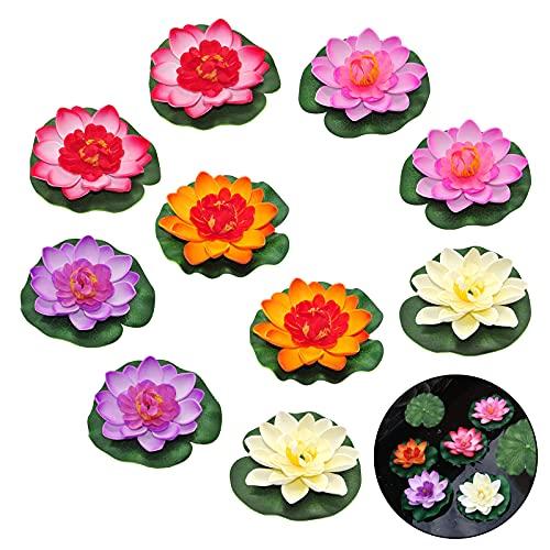 Schwimmende blühende Lotosblume auf dem Wasser 10 Stücke von 4 Zoll Wasserdichte Lotos für Hochzeits-Dekoration Garten Feier Garten Aquariums(Simulation Lotus)
