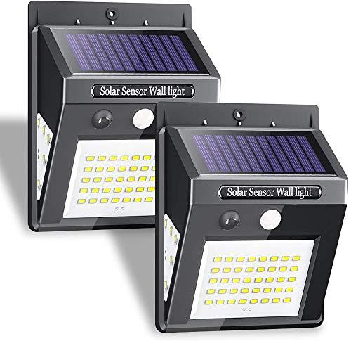 Solarlampen für Außen mit Bewegungsmelder Hohe Qualität 50 LED 500 Lumen Solarleuchten Aussen 1200mAh Wasserdichte Solar Wandleuchte Solar Bewegungsmelder Aussenleuchte Solarlichter für Garten-2 Stück