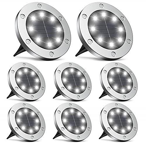 Traciya Solar-Bodenleuchten, verbesserte 8 LEDs, Solar-Scheibenleuchten, für den Außenbereich, IP65, wasserdicht, Gartenlicht für Terrasse, Weg, Rasen, Hof, Auffahrt, Hinterhof, Auffahrt