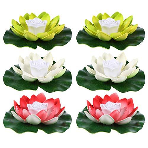 OSALADI 6 Stücke LED Lotus Laterne Künstliche Seerosen Schwimmende Blumen Lotusblume Lotusblüte Lotusblatt Kerzen Licht Teichleuchte Teichlicht für Pool Teich Garten Deko Beleuchtung