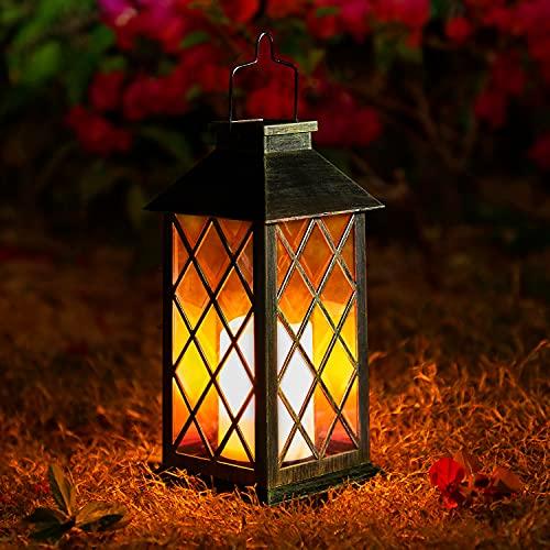 Solar Laterne mit LED Kerze und Täuschend echt Wirkenden Flacker-Effekt, OxyLED IP44 Festive Light für Deko...