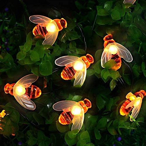 Solar Lichterkette aussen, Bienen lichterketten 50 LED 7M / 24Ft 8 Modi wasserdichte Lichterketten Innen / Außen für Garten, Bäume, Terrasse, Weihnachten, Hochzeiten, Partys (warmweiß)