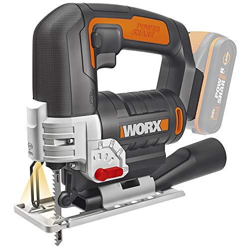 Worx WX543.9 Akku-Pendelhub-Stichsäge – Profi Stichsäge mit Absaug-Adapter – Ideal auch für Gehrungsschnitte – PowerShare kompatibel – Wird ohne Akku & Ladegerät geliefert