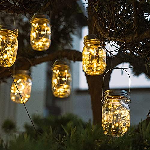Wasserdichte Hängeleuchte, 6 Stück 20 Led Solar Mason Jar Licht, IP65 Wasserdichte Solar Einmachglas Aussen Lampions, Solarlampen für Außen, Mason Jar Solarlampe Garten für Garten Party Hochzeit