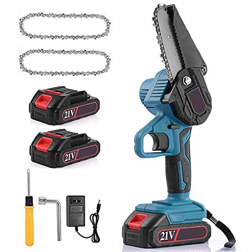 CANG Mini-Kettensäge Akku 4 Zoll 2,0 Ah Batteriebetriebene Elektro-Kettensäge mit Sicherheitsschloss für Astholzschneiden und Garten,Battery*1