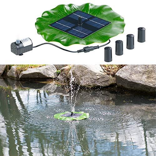 Royal Gardineer Solarbrunnen für Teich: Schwimmender Solar-Teich-Springbrunnen mit Pumpe und 4 Düsen (Teich Fontäne schwimmend)