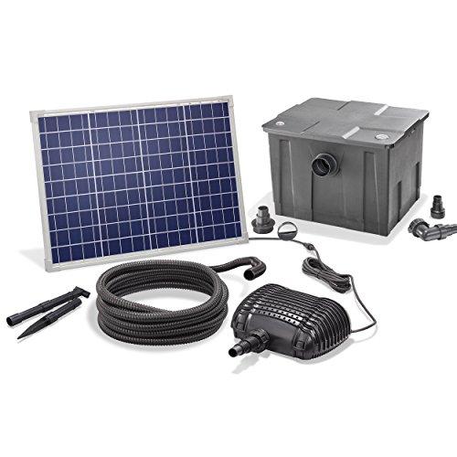 Solar Teichfilterset Premium 2500 l/h Förderleistung 50 Watt Solarmodul 2m Förderhöhe Solarfilter...