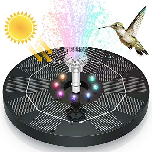 AISITIN Solar Springbrunnen 2021 Upgrade, 3.5W 180mm Solarbrunnen mit LED Licht Eingebaute Batterie 3000mAh Akku mit 6 Fontänenstile Solar Teichpumpe für Garten, Vogel-Bad, Fisch-Behälter