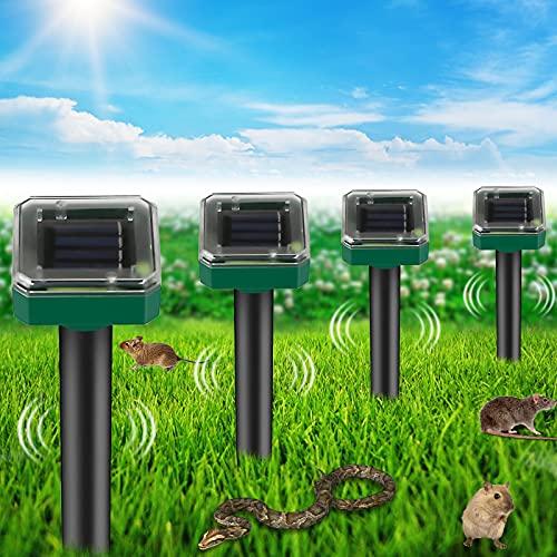 Wühlmausschreck solar, 4 Stück Solar Maulwurfabwehr mit IP56 Wasserdicht, Ultraschall Maulwurfschreck Garten, Maulwurfbekämpfung, Wühlmausschreck, Mole Repellent, Schädlingsbekämpfung für Den Garten