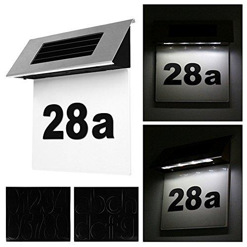 Yezytech Hausnummer Edelstahl,Solar beleuchtete Hausnummer mit 4 LEDs Beleuchtung Hausnummernleuchte mit LED Leuchte beleuchtet Dämmerungsschalter Bewegungsmelder aus Edelstahl,2PC