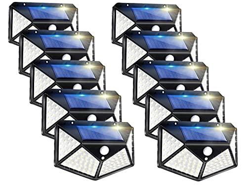 Solarlampen Für Außen Mit Bewegungsmelder, Ip65 Wasserdicht 100 Led-Superhelle Solarleuchte, 2000Mah Solar Wandleuchte Mit 3 Modi Für Hinterhof, Garten, Zaun, Terrasse, Haustür, Garage(10 Stück)