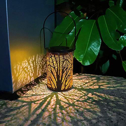 YWJPJ. LED Solarlaterne Outdoor Dekorative Metall Hängende Lichter Hohl Für Garten Yard Tischplatte Patio Rasenbaum Ornamente,Leaves