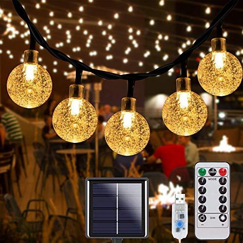 Solar Lichterkette Aussen, Garten Lichterkette 10M 70LED Kristall Kugeln, Lichterkette Außen 8 Modi IP67...