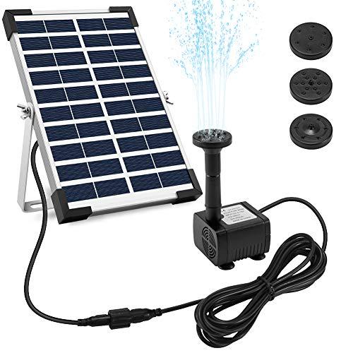 Ankway Solar Springbrunnen 5W, Solar Teichpumpe mit 128'/3.25M Draht Länge, Solar Wasserpumpe Set für...