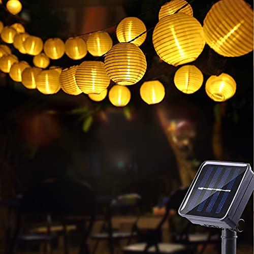 Geemoo Solar Lichterkette Lampions Außen, 6M 30 LED Laternen Lichterkette Warmweiß, 2 Modi Wasserdicht Solar Beleuchtung für Garten, Hof, Balkon, Halloween Deko