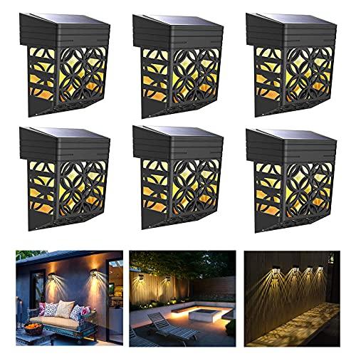Miavogo Solarlampe Wandlampen für Außen, 6 Stück Dekorative Solarleuchten Wandleuchten Wasserdicht IP54 Warmweiß Solar Außenleuchten für Garten Terrasse Haustür Treppe Garage Balkon Wege