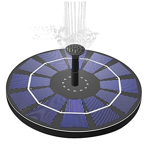 IMODOMIO Solar Springbrunnen mit 2.5W Solar Panel Eingebaut 800mAh Akku Solar Teichpumpe Garten Wasserpumpe Solar Schwimmender Fontäne Pumpe 6 Effekte für Teich, Pool, Fischteich, Vogelbad, Garten