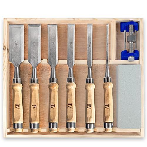 TILAVI® Stemmeisen / 6 tlg. Stechbeitel set mit Aufbewahrungskiste aus Holz. inkl. Schleifset für das...