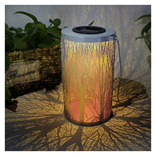 lxxiulirzeu LED Solar Projektionslicht im Freien Straßenlaterne Retro Hängende Solarlaterne Lampe Metall Blatt Dekor für Gartentisch (Emitting Color : A)