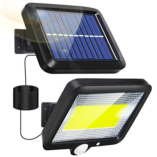 Solarleuchten für Außen, Solarlampen für Außen mit Bewegungsmelder COB IP65 Wasserdichte 3 Modi Aussen Solar Strahler Licht LED Aussenleuchte mit 16.5ft Kabel für Garten Wand