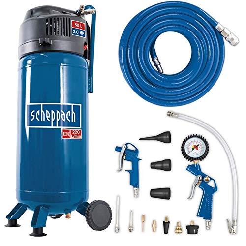 Scheppach Kompressor HC51V (1500W, 50 L, 10 bar, Ansaugleistung 220 l/min, Druckminderer, ölfrei, stehende...