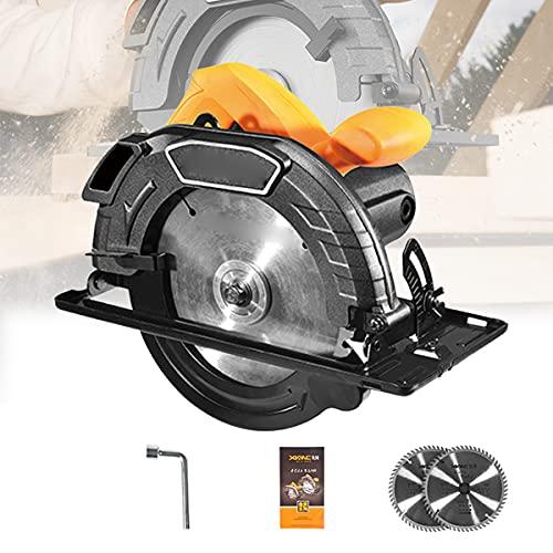 HIMNA PETTR 1450W Haushalts Kreissäge, Schnittwinkel 45 ° und Tiefe 60mm, Handheld Mini Handkreissäge mit Kupferkernmotor für Hausrenovierung und Renovierung
