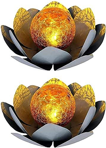 ZYXM LED Solar Außen Lampe Lotos Blume Garten Beleuchtung Seerosen Design Leuchte 25 cm 2 Stücke