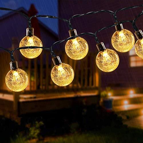 Solar Lichterkette für Außen, 50 LED 8 Modi Außen/Innen Lichterkette Kristall Kugeln Wasserdicht , dekorative für Garten, Party, Weihnachten, Bäume, Terrasse, Weihnachten, Hochzeiten (Warmweiß)